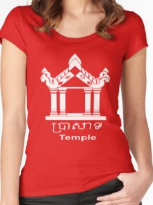 Temple - English and Khmer Women's Fitted Scoop T-Shirt