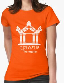 Temple - English and Khmer Womens Fitted T-Shirt