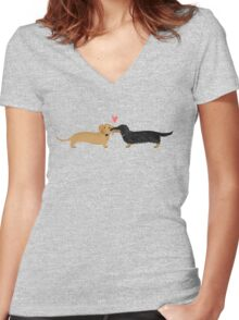 Dachshunds Love Women's Fitted V-Neck T-Shirt