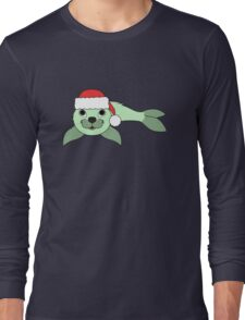 Light Green Baby Seal with Christmas Red Santa Hat Long Sleeve T-Shirt