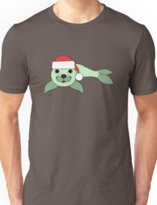 Light Green Baby Seal with Christmas Red Santa Hat Unisex T-Shirt