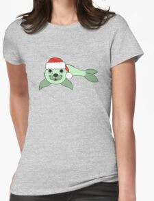 Light Green Baby Seal with Christmas Red Santa Hat Womens Fitted T-Shirt