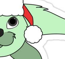 Light Green Baby Seal with Christmas Red Santa Hat Sticker