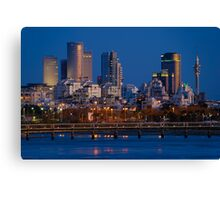 city lights and twilight hour at Tel Aviv Canvas Print