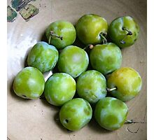 Greengages Displayed In A Ceramic Bowl Photographic Print