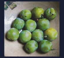Greengages Displayed In A Ceramic Bowl One Piece - Long Sleeve