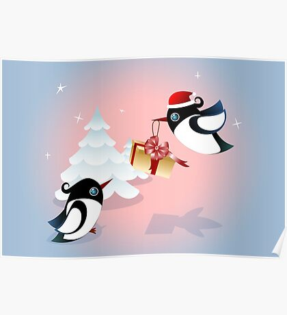 Winter Season Card - Birds Christmas Gift Poster