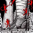 The War pen ink surreal drawing by Vitaliy Gonikman