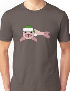 Light Pink Baby Seal with Christmas Green Santa Hat Unisex T-Shirt