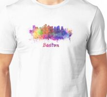 Boston skyline in watercolor Unisex T-Shirt
