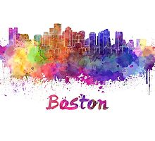 Boston skyline in watercolor by paulrommer