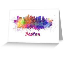 Boston skyline in watercolor Greeting Card