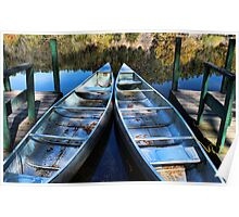 Docked Canoes Poster