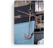 Anchor on the side of the former Cornish fishing boat Snowdrop, Brest 2008 Maritime Festival, France Canvas Print