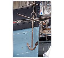 Anchor on the side of the former Cornish fishing boat Snowdrop, Brest 2008 Maritime Festival, France Poster