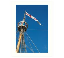 St George's flag pennant flying on the Matthew ship, a replica of a Caravel, Brest 2008 Maritime Festival, France Art Print