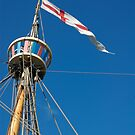 St George's flag pennant flying on the Matthew ship, a replica of a Caravel, Brest 2008 Maritime Festival, France by silverportpics
