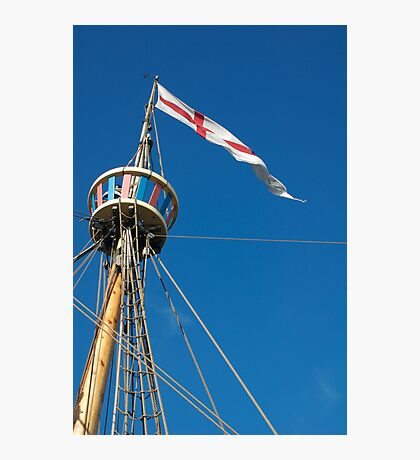 St George's flag pennant flying on the Matthew ship, a replica of a Caravel, Brest 2008 Maritime Festival, France Photographic Print