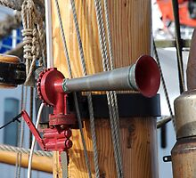 Airhorn attached to wooden mast of ship, Brest 2008 Maritime Festival, Brittany, France by silverportpics