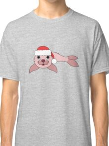 Light Pink Baby Seal with Christmas Red Santa Hat Classic T-Shirt