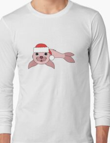 Light Pink Baby Seal with Christmas Red Santa Hat Long Sleeve T-Shirt