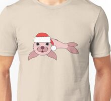 Light Pink Baby Seal with Christmas Red Santa Hat Unisex T-Shirt