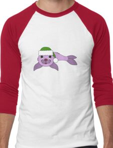 Light Purple Baby Seal with Christmas Green Santa Hat Men's Baseball ¾ T-Shirt