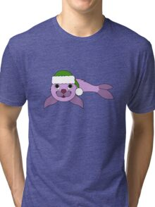 Light Purple Baby Seal with Christmas Green Santa Hat Tri-blend T-Shirt