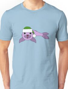 Light Purple Baby Seal with Christmas Green Santa Hat Unisex T-Shirt