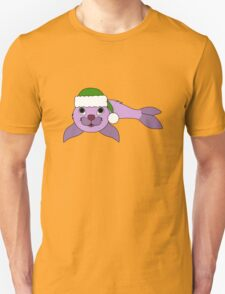 Light Purple Baby Seal with Christmas Green Santa Hat T-Shirt