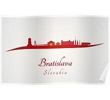 Bratislava skyline in red Poster