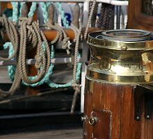 Compass and binnacle onboard a tall ship, Brest Maritime Festival 2008, France by silverportpics