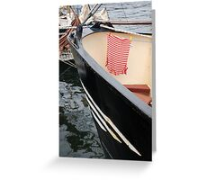 Red and white striped top drying onboard ship, Brest Maritime Festival 2008, France Greeting Card