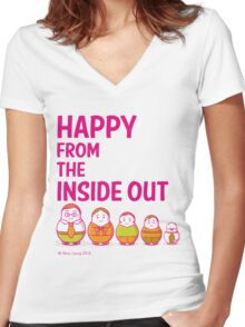 Happy from the inside out Women's Fitted V-Neck T-Shirt