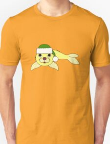 Light Yellow Baby Seal with Christmas Green Santa Hat T-Shirt