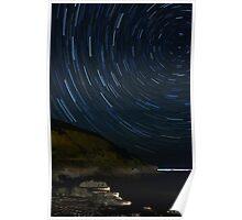 Star trails Skiathos bay, Skiathos, Greece Poster