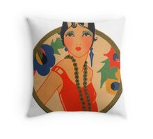 Roaring 20's Flapper in a Red Dress Throw Pillow
