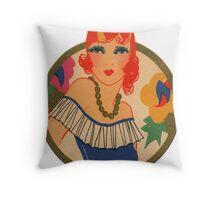Roaring 20's Flapper in a Blue Dress Throw Pillow