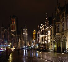 Ghent historical centre by night by 7horses