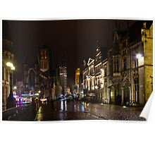 Ghent historical centre by night Poster