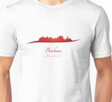 Brisbane skyline in red Unisex T-Shirt