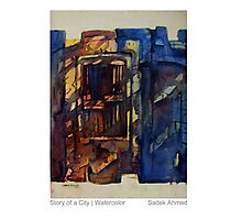 Old Dhaka | Story of a city, watercolor by Sadek Ahmed Photographic Print