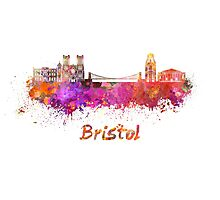 Bristol skyline in watercolor Photographic Print