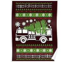 CHRISTMAS FIREFIGHTER UGLY SWEATER-Firefighter Ugly Christmas  Poster