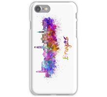 Bruges skyline in watercolor iPhone Case/Skin