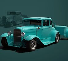1930 Model A Ford Coupe Hot Rod with Matching Trailer by TeeMack
