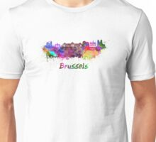 Brussels skyline in watercolor Unisex T-Shirt