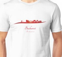 Bucharest skyline in red Unisex T-Shirt