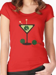 Martini glass knitting needles yarn Women's Fitted Scoop T-Shirt