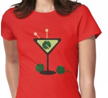 Martini glass knitting needles yarn Womens Fitted T-Shirt